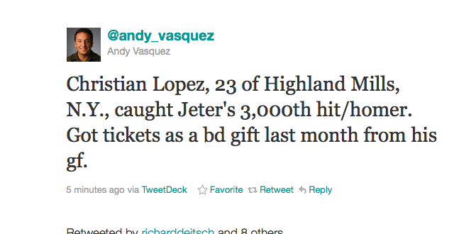 Deadspin I-Team: Who's That Guy Who Stands To Make Some Coin Off Of Jeter's 3,000th Hit? (UPDATED)