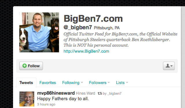 Ben Roethlisberger Really Isn't On Twitter After All