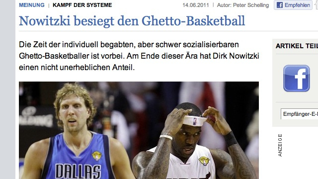"German Newspaper Credits Dirk, ""First White MVP Since Larry Bird,"" With Defeating ""Ghetto Basketball"""