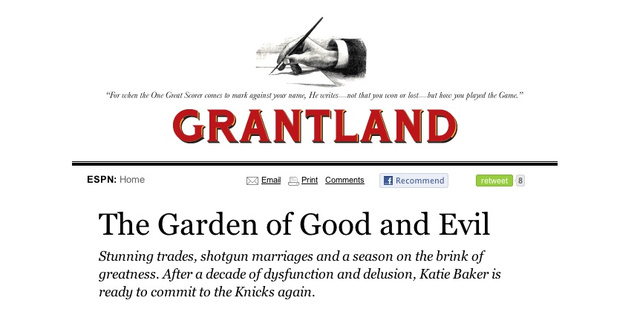 Grantland.com Published Some Crazy Lady Yakking About The Knicks