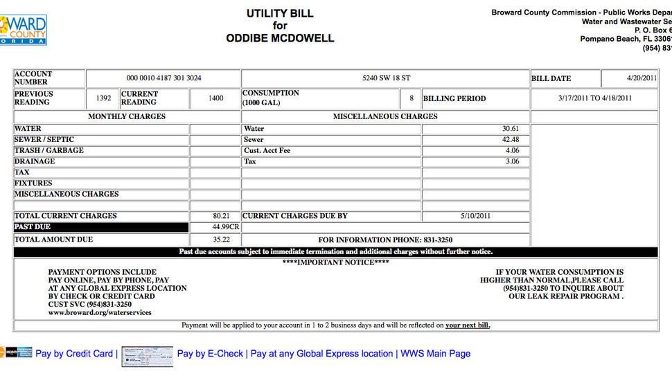 Update: Oddibe McDowell's Water Bill Is Now $80.21