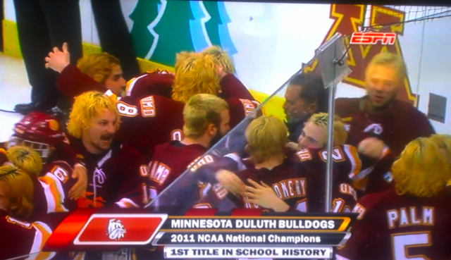 A Bunch Of Guys Who Dyed Their Hair Blondish Won The NCAA Hockey Championship Last Night