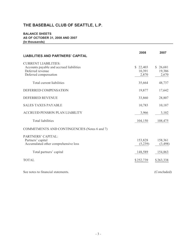 Seattle Mariners Financial Documents