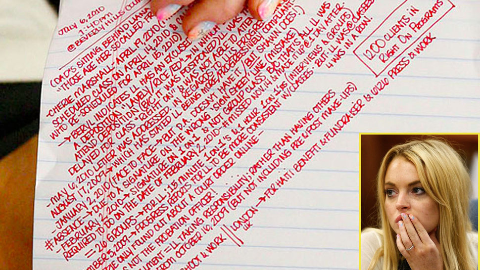 Read Lindsay Lohan's Impressive Courthouse Notes