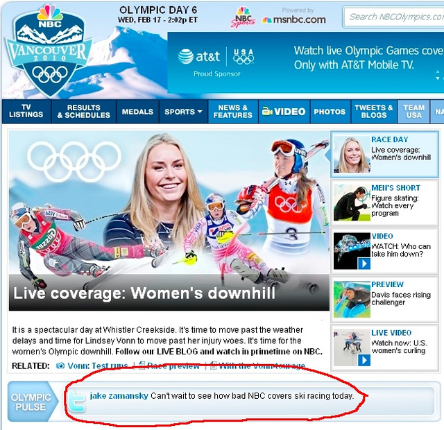 Even NBCOlympics.com Hates NBC's Olympic Coverage