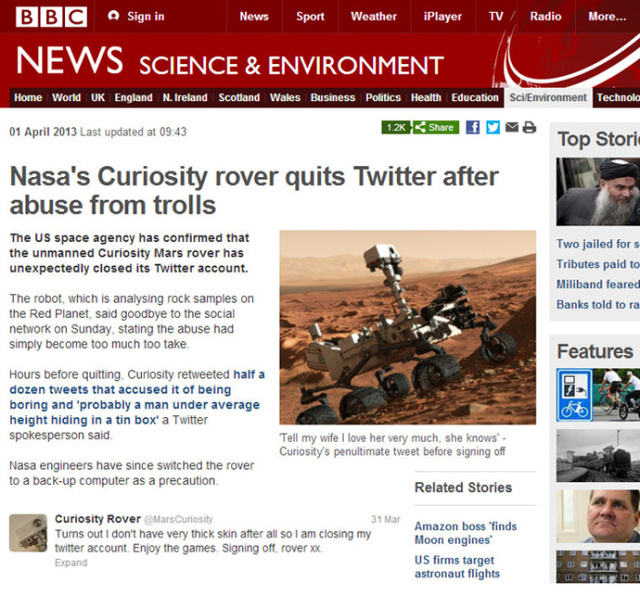The very best April Fools Jokes from 2013: The Mars Rover Goes Rogue!
