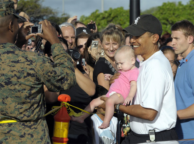 Barack Obama: Yes He Can Hold (Snotty, Band-Aided) Babies