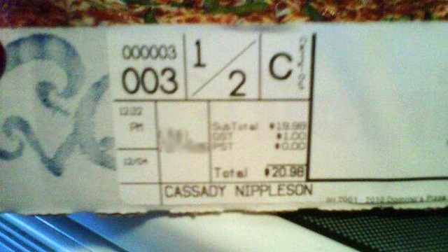 'Cassady Nippleson,' the Best Offensive Fast-Food Receipt Yet