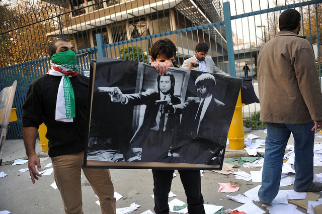 Iranian Students Take Pulp Fiction Poster Hostage in Assault on British Embassy
