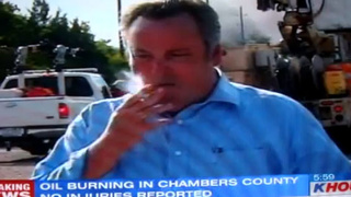 TV Reporter Caught Smoking While Covering Oil Fire