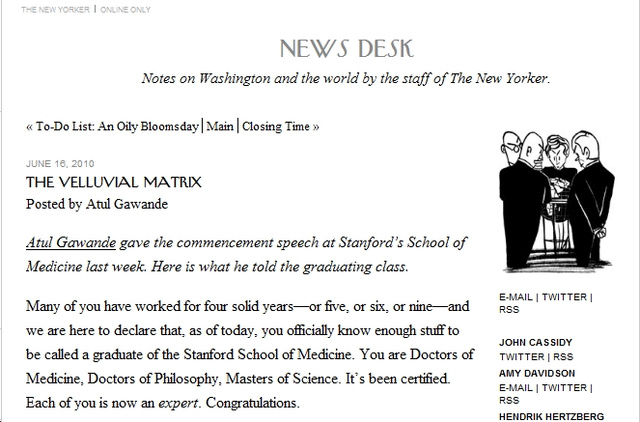 Med School Dean Just Steals Speech From The New Yorker