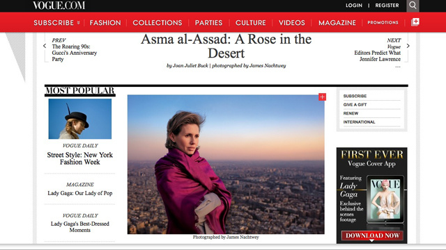 Vogue Disappears Adoring Profile of Syrian Butcher's Wife