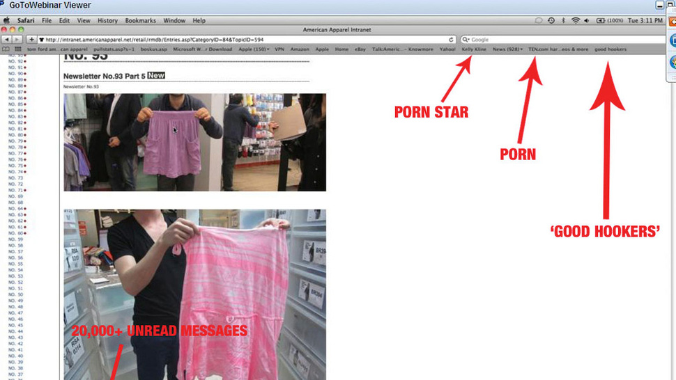 An Annotated Guide to Dov Charney's Desktop and 'Good Hookers'