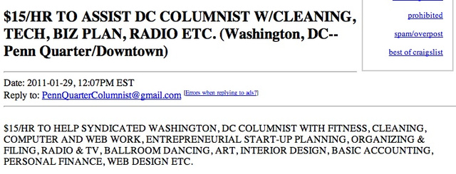 DC Columnist Seeks Help Doing Everything: $15/hour