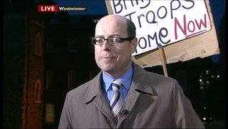 Enraged BBC Newsman Destroys Protester's Sign