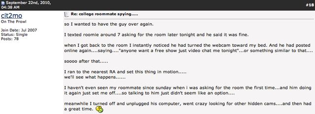 Is This Webcam Spying Victim Tyler Clementi's Last Call for Help?