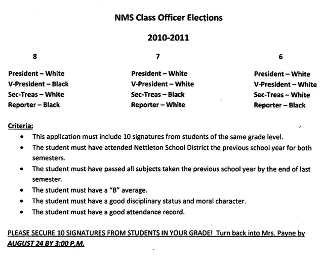 Middle School Segregates Class Elections by Race (Updated)