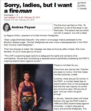 Andrea Peyser Is Gay for Sexxxy Firemen But not Sexxxy Fire Ladies