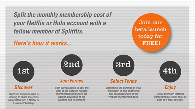 Splitflix: Share the Cost of Your Hulu and Netflix Subscriptions