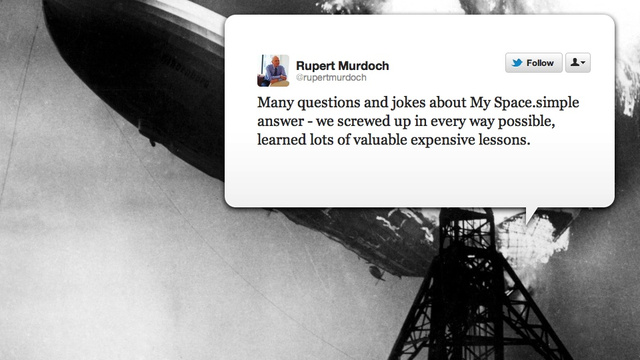 "Rupert Murdoch Admits He Screwed Up MySpace ""In Every Way"""