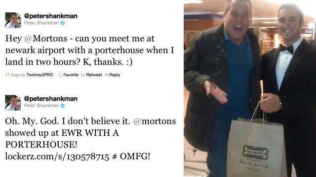 Morton's Steakhouse Met a Man at the Airport with a Steak After He Asked For One on Twitter