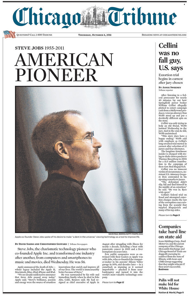 Steve Jobs Remembered On the Front Page