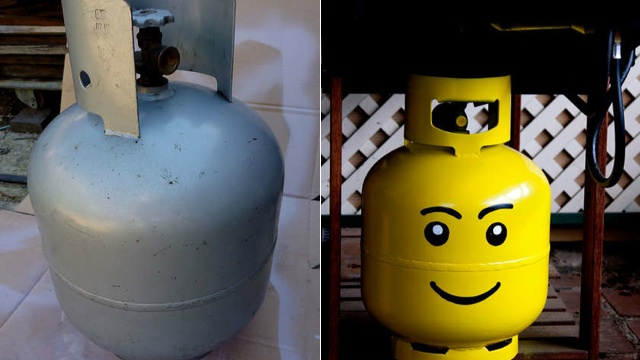 Turn Your Propane Tank Into a Gigantic Lego Head