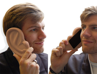 Why Is This Guy Holding His Giant Ear? Oh Because It's a Giant Ear iPhone Case