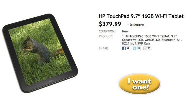 HP TouchPad's Reduced to Bargainous $380 on Woot Today Only (Updated: $300 at Staples!)