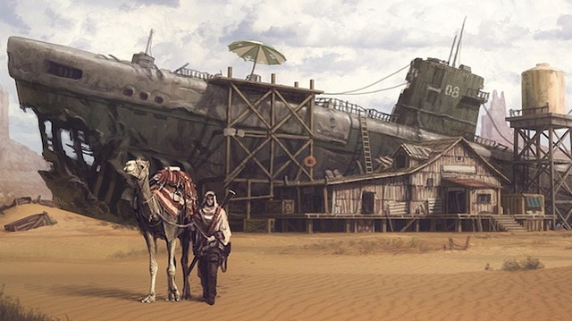Concept Art Writing Prompt: A submarine decays in the middle of the desert