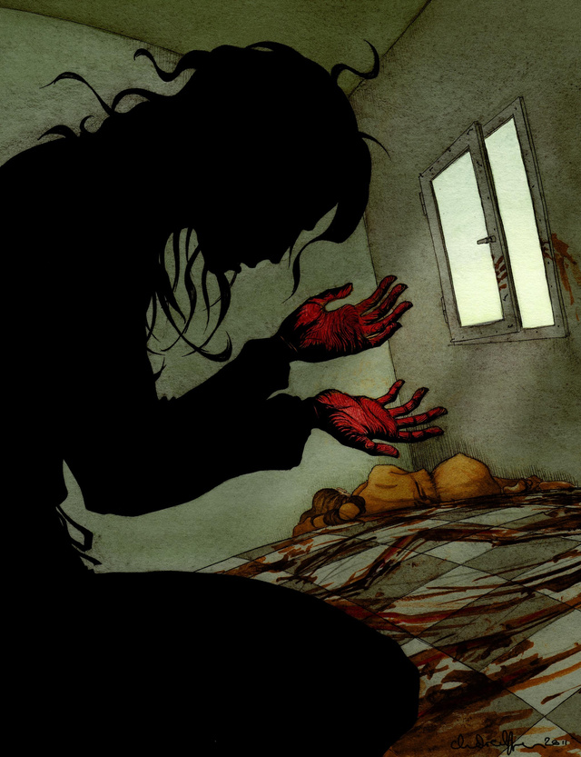 An artist depicts one of the most shocking scenes in Harbinger, the latest dystopian YA novel