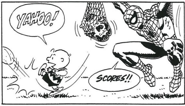 Charlie Brown finally kicks the football, with a little help from Spider-Man