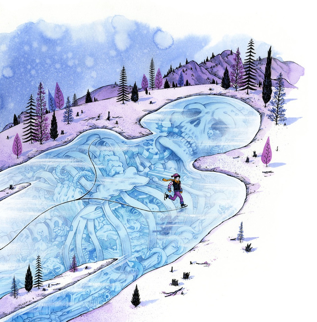 Concept Art Writing Prompt: A giant's skeleton slumbers beneath a frozen lake