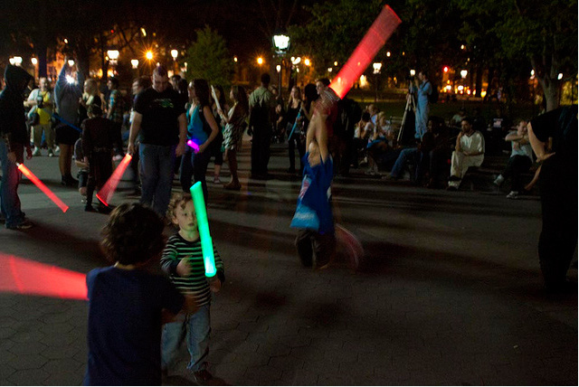 World's biggest lightsaber battle looks like a giant rave