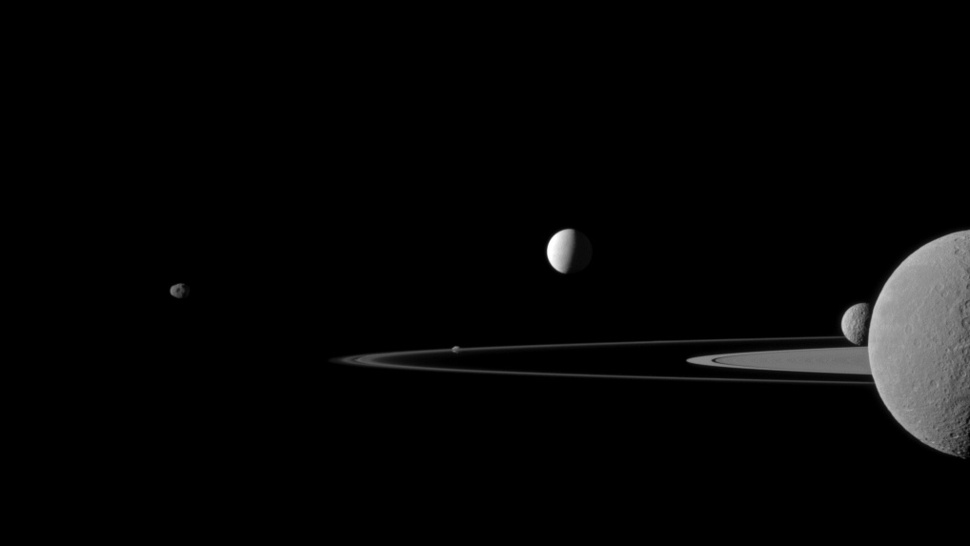Five of Saturn's Moons in One Breathtaking Photo
