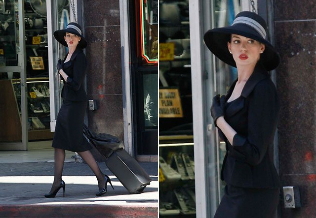 The Dark Knight Rises set photos, and Anne Hathaway and Christian Bale on set
