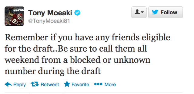 The Chiefs' Tony Moeaki Wants You To Do Some NFL Draft Trolling