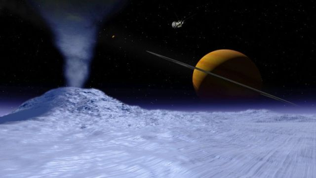 The moon Enceladus rains down water on Saturn