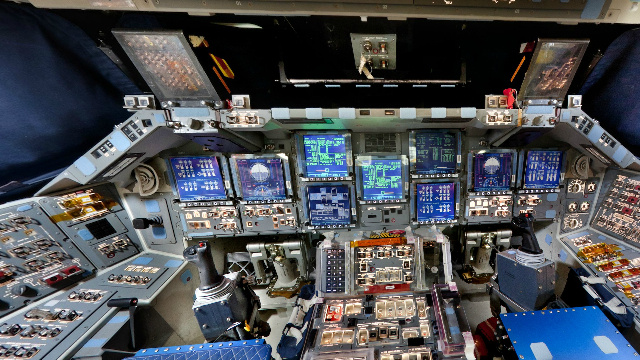 An astronaut's-eye-view of Space Shuttle Discovery's flight deck