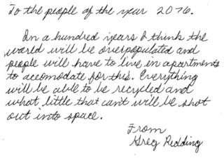 Letters to the Year 2076 (from high schoolers in the Year 1976)