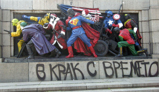 Bulgarian street artists turn Soviet war memorial into Superman, Wolverine, and other superheroes