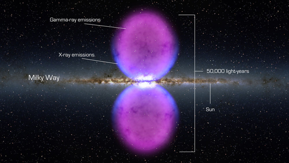 Burping black hole creates gigantic gamma ray bubbles
