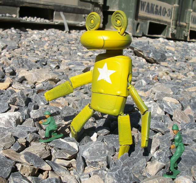 A soldier stationed in Afghanistan creates fighting robots, aliens and other action figures