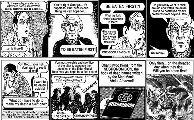 """Who Will Be Eaten First?"" — a Lovecraftian parody of Chick tracts"