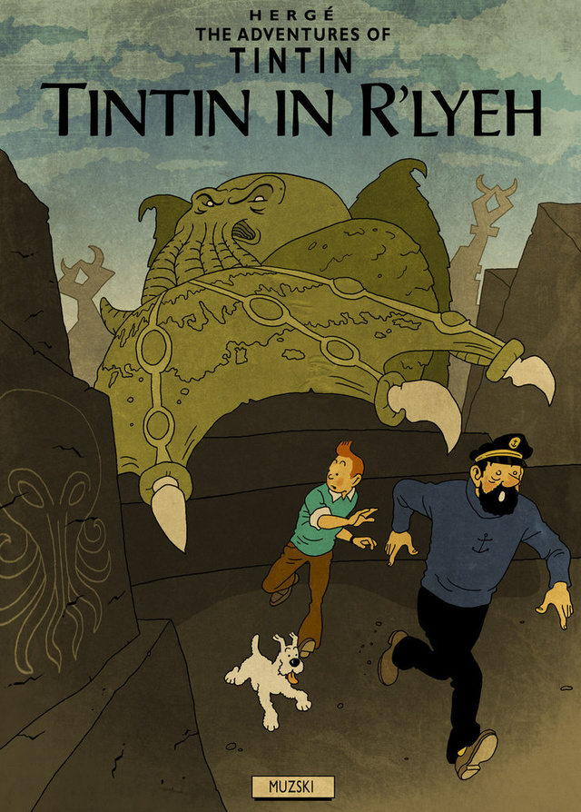 Tintin meets H.P. Lovecraft in this mind-bending mash-up art