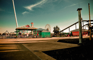 The hurricane-damaged remains of Six Flags New Orleans