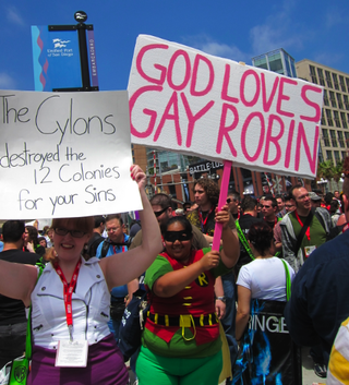 "The SDCC ""God Hates Fags"" counterprotest had the best, nerdiest signs ever"