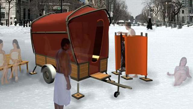 The Rentable Folding Sauna: BYO Awkward Eye Contact