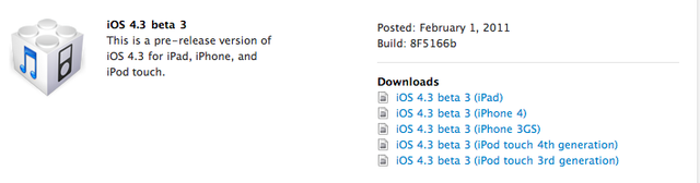 iOS 4.3 Beta 3 Now Available to Apple Developers