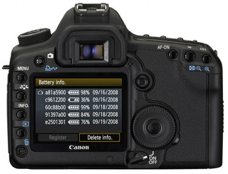 Canon EOS 5D Mark II to Track Multiple Batteries